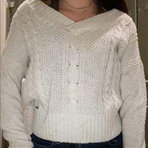 V neck white sweater